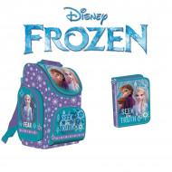 Set Scoala Frozen: Ghiozdan cu pereti rigizi si penar