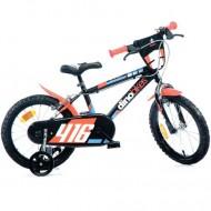 "Bicicleta pentru copii cu roti ajutatoare 16"" negru-portocaliu MTB"