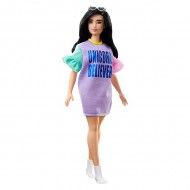 Papusa Barbie Fashionistas bruneta cu rochie mov