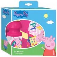 Set pentru pranz cu sticla si cutie roz Peppa Pig
