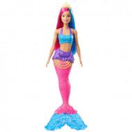 Papusa Barbie sirena cu parul roz si albastru Dreamtopia
