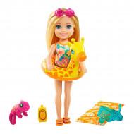 Papusica Barbie Chelsea Lost Birthday cu accesorii de plaja