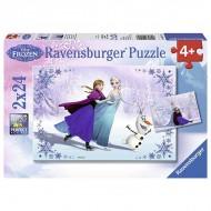 Puzzle 2x24 piese Elsa si Anna pe gheata - Frozen