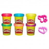 Set 6 borcanase Plastilina Play-Doh cu sclipici si forme