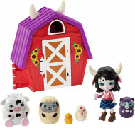 Set de joaca Ferma de pe deal cu figurine Cambrie Cow si animalute matrioska Enchantimals Secret Besties