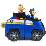 Set de joaca Masina de politie 2 in 1 cu figurine Chase si Skye Paw Patrol - Patrula Catelusilor