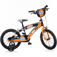 "Bicicleta pentru copii cu roti ajutatoare 16"" negru-portocaliu BMX"