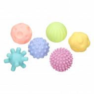 Jucarie senzoriala bebelus- Set 6 mingiute colorate cu texturi diferite