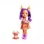 Papusa 30 cm Danessa Deer cu animalut EnchanTimals