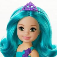 Papusa Barbie Chelsea Dreamtopia sirena cu parul albastru turcoaz