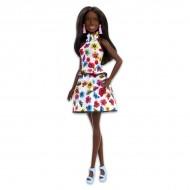 Papusa Barbie Fashionistas de culoare cu rochie model floral