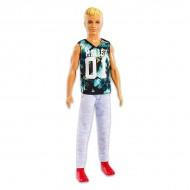 Papusa Ken blond cu tricou Malibu si pantaloni lungi