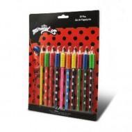 Set 10 creioane colorate Miraculous: Buburuza si Motan Noir