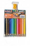 Set 12 Creioane Colorate cu Ascutitoare Hot Wheels