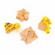 Set 4 piese Wooden Brain Puzzles Expert