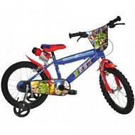 """Bicicleta pentru copii cu roti ajutatoare si sticla de apa 16"""" Avengers"""