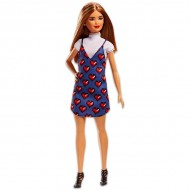 Papusa Barbie Fashionistas satena cu rochie cu inimioare