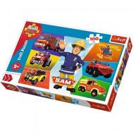Puzzle Pompierul Sam 100 piese - Vehiculele lui Sam