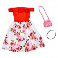 Set haine Barbie - Rochie rosie cu flori