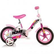"""Bicicleta roz pentru fetite cu roti ajutatoare 10"""""""