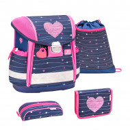 Ghiozdan scoala echipat Belmil Classy - Inimioare roz