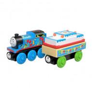 Locomotiva din lemn cu vagon de impins Thomas & Friends Ziua lui Thomas cu sunete