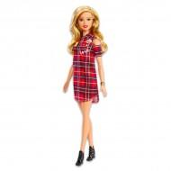 Papusa Barbie Fashionistas blonda in rochie scurta cu carouri