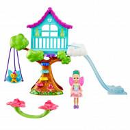 Papusica Barbie Dreamtopia si Casuta din copac cu leagan