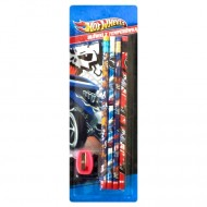 Set 4 Creioane Grafit cu Ascutitoare Hot Wheels