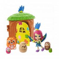 Set de joaca Casuta din copac cu figurine Peeki Parrot si animalute matrioska Enchantimals Secret Besties