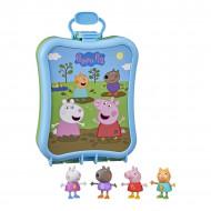 Set figurine Peppa, Suzy, Danny si Candy Peppa Pig in cutie de transport