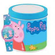 Ceas de mana analog in cutie metalica Peppa Pig