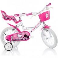 Bicicleta pentru copii cu roti ajutatoare 14'' Hello Kitty