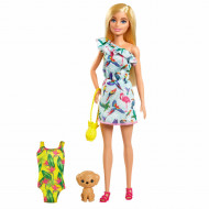 Papusa Barbie Chelsea Lost Birthday cu catel si costum de baie
