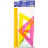 Set de geometrie cu 4 rigle colorate Sakota