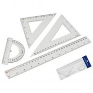 Set de geometrie cu 4 rigle transparente Starpack