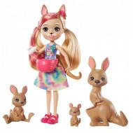 Set de joaca papusa Kamilla Kangaroo si cangurii Tote, Joey si Satchel Enchantimals