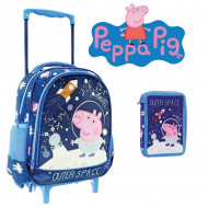 Set Gradinita Peppa Pig albastru: Ghiozdan troler si penar echipat