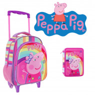 Set Gradinita Peppa Pig roz: Ghiozdan troler si penar echipat