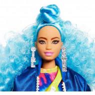 Barbie Extra - Papusa cu parul albastru si skateboard