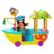 Barca din Jungla - Set de joaca Enchantimals cu papusa Merit Monkey