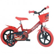 "Bicicleta pentru copii cu roti ajutatoare si cosulet 12"" Miraculous Buburuza si Motan Noir"