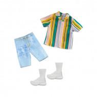 Haine Ken tricou cu dungi, pantaloni scurti si pantofi sport Barbie
