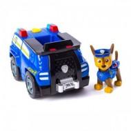 Set Chase si Masina de Politie cu faruri speciale Transformabila Patrula Catelusilor