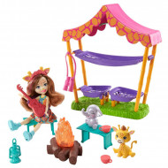 Set de joaca Griselda Giraffe si Focul de tabara din savana Enchantimals