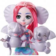 Set de joaca papusa Esmeralda Elephant si elefantii Graceful, Prunie si Mammoth Enchantimals