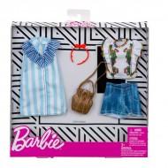 Set haine Barbie - rochie cu dungi, pantaloni scurti, bluza si accesorii