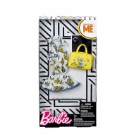 Set haine Barbie - salopeta cu model Minioni, geanta galbena si bratara