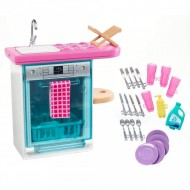 Set mobila de joaca Barbie in bucatarie : masina de spalat vase si accesorii