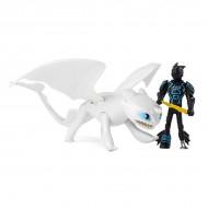 Set de joaca Cum sa-ti dresezi dragonul - Figurine Hiccup si Light Fury - 17 cm